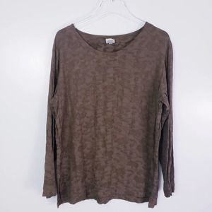 CP Shades Olive Green Textured Crewneck Top Small